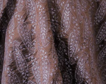 """Brown and silver woven paisley polyester crinkled fabric - 58""""- BTY"""