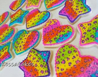 Zebra print cookies, leopard print cookies, heart cookies, star cookies, tie dye cookies, neon cookie, lisa frank cookie, royal icing cookie