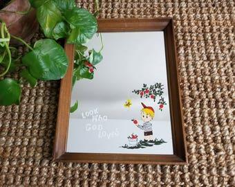 Wooden Illustrated Mirror