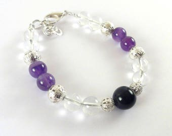 Natural Clear Quartz & Amethyst Bracelet