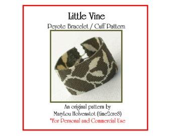 Peyote Pattern ... LITTLE VINE ... Bracelet Pattern . Leaves . Leafy . Two Color . Tutorial . Classic . Nature . Pretty . Modern Design