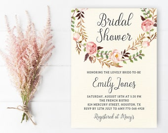 Printable Bridal Shower Invitation Template, Watercolor Floral Invite, Shabby Chic Bridal Shower Invite Printable Couples Shower Invite