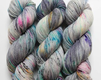 Shadow Puppets - sparkly speckled variegated sock yarn on SOL gold sparkle sock - 100g/435yds - ready to ship!