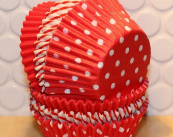Red Polka Dot, Striped & Solid Cupcake Liner Collection (Qty 45) Red Polka Dot Cupcake Liners, Red Striped Cupcake Liners, Red Cupcake Liner