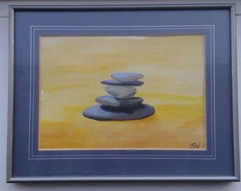 Original Art work, Original Acrylic painting, Rock pile, Beach,
