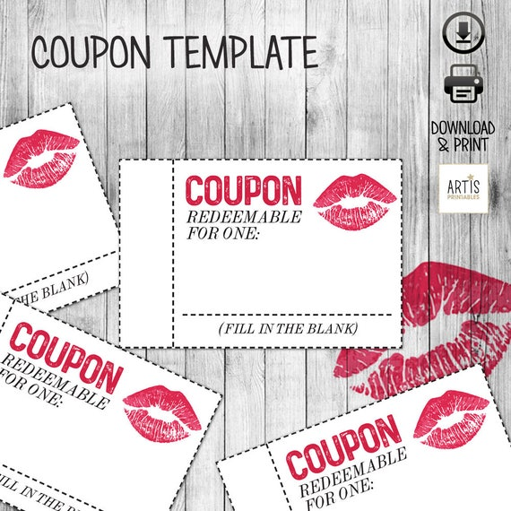 Printable Coupon Book digital paper coupon Empty Love