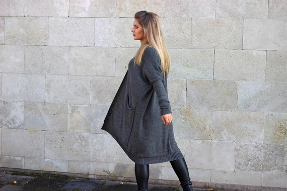 open wool sweater pockets alpaca coat wrap drape gift knit cardigan plus fit oversized woman loose size black Gray with maternity wAfqtx