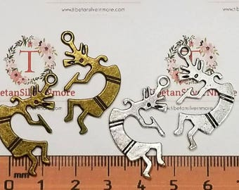 18 pcs per pack 32x18mm Kokopelli Charm Antique Silver or Bronze finish Lead Free Pewter