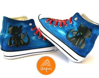 Dragon Shoes Hand Painted High Top Boots