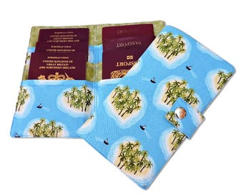 Family Passport holder Caribean island print. US or UK Family Passport cover. passpoty wallet. Holds up to 6 passports
