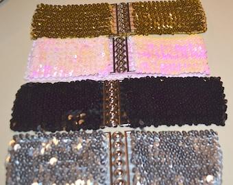 Sequin cinch belt, Elastic belt, stretch belt, silver belt, gold belt, corset belt, cinch belt, 22 to 29 inch, black belt, pink belt