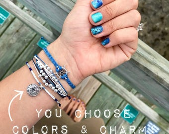 Silver Ship's wheel bracelet set, Set of 3 bracelets, You choose colors and charm, nautical bracelets, anchor bracelet, waxed cord bracelets