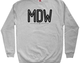 MDW Chicago Airport Hoodie - Men S M L XL 2x 3x - Gift for Men, Her, Midway Airport Hoody, Iata Code Hoody, Pilot Hoody