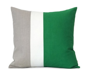 Emerald Green Color Block Pillow with Cream and Natural Linen Stripes by JillianReneDecor (20x20) Kelly Green | Modern Home Decor | Gift