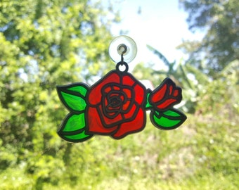 Red Rose Suncatcher Pretty Flower Sun Catcher for Window FS