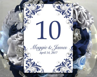"""DIY Wedding Table Number Template - Navy Silver Table Number - Microsoft Word Template """"Maggie"""" Shabby Chic Wedding Table Number"""
