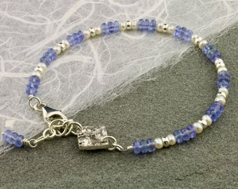 Tanzanite, Freshwater Pearls, Sterling and Fine Silver Bracelet by Carol Ann Bosek