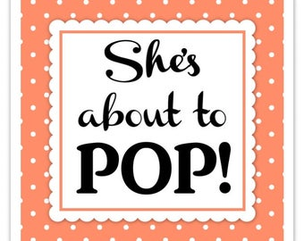 Orange/Coral Polka Dot Baby Shower Stickers, About to Pop labels, Square (20 count)