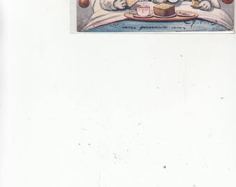 Antique Tuck Antique Humanized Postcard Bulldog Husband And Wife Having Breakfast In Bed