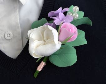 Wedding Boutonniere Buttonhole Boutonniere Grooms boutonniere Flower boutonniere Lilac boutonniere Wedding buttonhole Flower buttonhole Pink