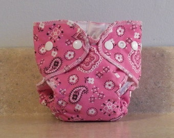 Fitted Preemie Newborn Cloth Diaper- 4 to 9 pounds- Pink Bandanna- 16056