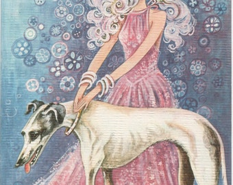 Used Blank Greeting Card, Girl with dog, Made in Spain, c1980s, good shape, very artsy!!