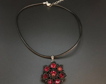 Swarovski Red Crystal Rivoli Beaded Flower on Leather Necklace