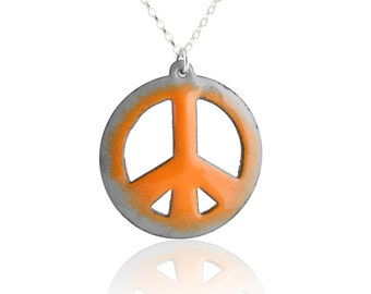 Orange Peace Sign Enamel  Necklace