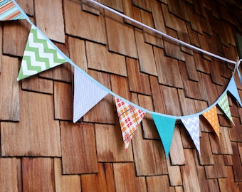 Fabric Flag Bunting, Ready to Ship Prop, Banner. Boy's Surprise Blue, Orange, Gray Designer's Choice Banner. Large, Double Sided Flags.