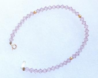 Vintage! 14k gold light pink crystal strand bracelet.
