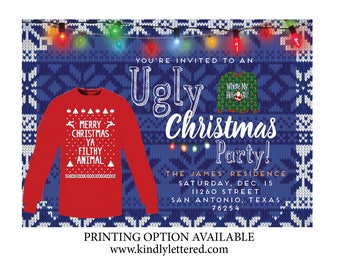 Ugly Christmas Photo Cards-Ugly Christmas Party Invitation-Christmas Cards-Christmas Sweater Photo Card-Seasonal Card-Happy Holiday Cards