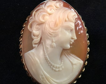 Old  Unique Antique Vintage Large 12k G.F Hand Carved Shell Cameo Brooch and Pendant of Victorian Woman