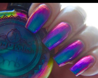 "P•O•P Polish ""Slick Like That"" Nail Polish Quick Dryt with Sifting Oil Slick 360  DuoChrome Mirror MultiChrome"