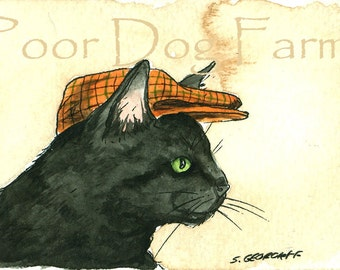 ACEO signed PRINT - Black Cat with a hat