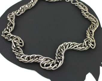 Large Link Antiqued Silver Chain Necklace