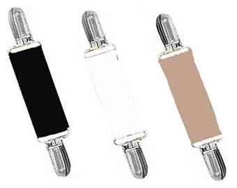 DRESS CLIPS - Set of Black..White..Tan - Gold or Silver Clips - Cinch Backs of Clothing