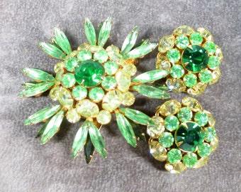 Gorgeous Vintage Judy Lee rhinestone brooch and earrings, Citrine and green Rhinestone earrings