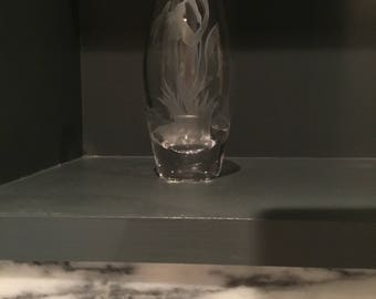 Stuart Crystal Bud Vase with Etched Snowdrops