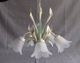 Chandelier with 5 lights Tole leaves decor and ARUM frosted glass from the 1960s. France