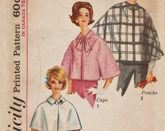 Simplicity 5416 / Vintage 60s Sewing Pattern / Cape Capelet Cloak Stole Wrap Poncho / Fashion Accessories / Size Large