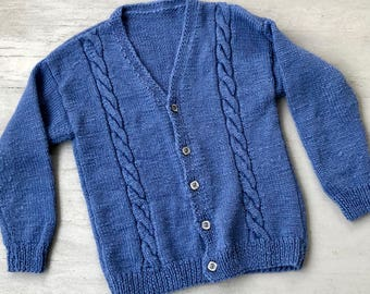 Handknit Grandpa Cardigan Large // Cable Knit Cardigan Sweater