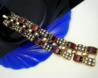 Stunning Vintage Signed Selini Wide Rhinestone Bracelet Red Jelly Lucite