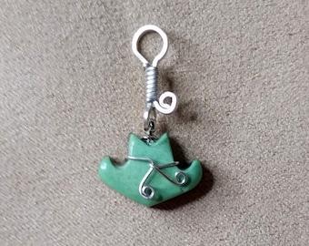 Green Varisite Cowboy Hat Pendant/ Charm/ sterling silver