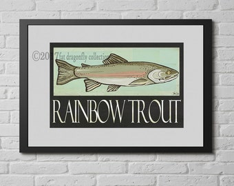 Rainbow Trout art print. Rainbow Trout wall art. Fish Print. Fish poster. Fish decor. Sportsman art. Gift for fisherman. Fisherman art print