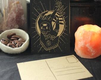 "Handmade Linoprint Postcard ""Witch Hand"""