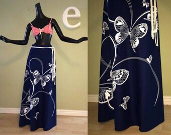 Vintage 70s Miss Shaheen Butterfly Maxi Skirt 1960s 1970s Hippie Boho Navy Blue & White Butterflies A-Line MOD Hawaiian Tiki Oasis 1/2 Dress