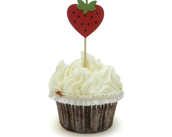 Strawberry Cupcake Toppers Set of 12 Strawberry Birthday Decorations Cupcake Topper Birthday Party Cake Topper Strawberry Theme Party