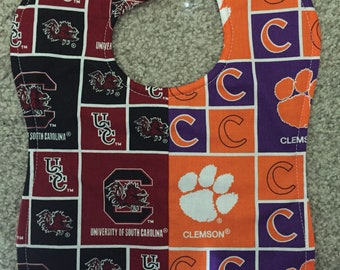 University of South Carolina USC/ Clemson University Baby Bib Handmade House Divided College