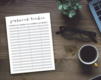 Printable Password Tracker - Printable Organizing Sheet - Office Organzing - Home Organizing - Instant Download
