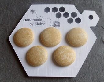 Fabric Covered Buttons - 5 x 22mm Buttons, Handmade Button, Cream Chalky Pastel Yellow Buttermilk Fawn Primrose Dappled Mottled Buttons 2641